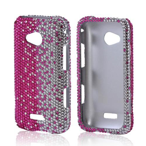Samsung Galaxy Victory 4G LTE Bling Hard Case - Hot Pink/ Silver Gems