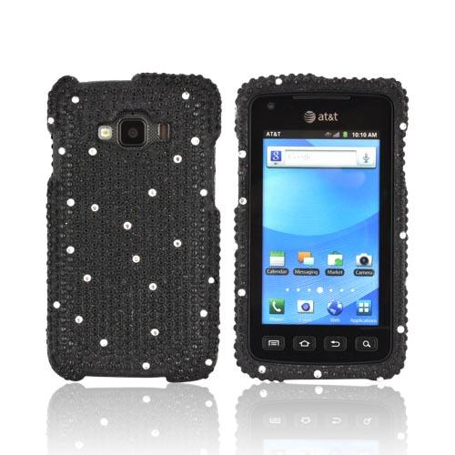 Samsung Rugby Smart i847 Bling Hard Case - White Gems on Black Gems