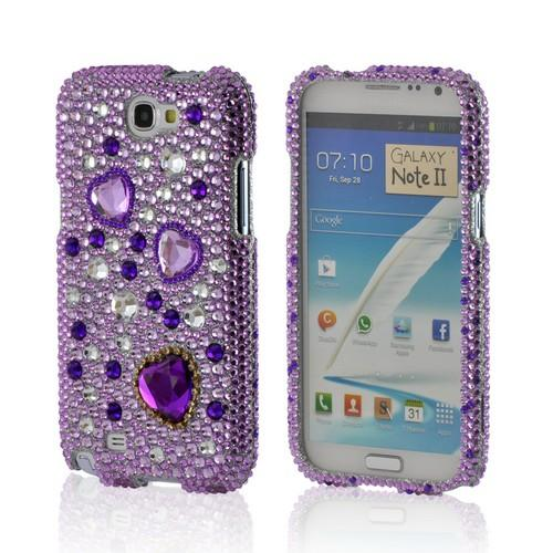 Purple Hearts on Light Purple/ Silver Gems Bling Hard Case for Samsung Galaxy Note 2
