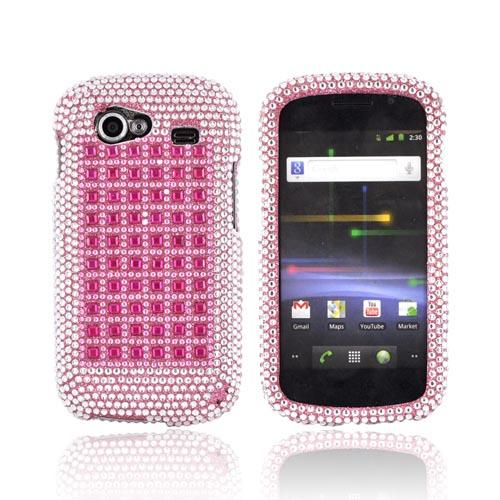 Google Nexus S Bling Hard Case - Pink & Silver on Pink Gems