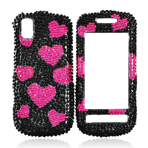 Samsung Instinct S30 Bling Hard Case - Red Hearts on Black
