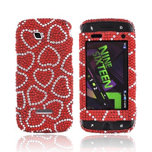 Samsung Sidekick 4G Bling Hard Case - Silver Hearts on Red Gems