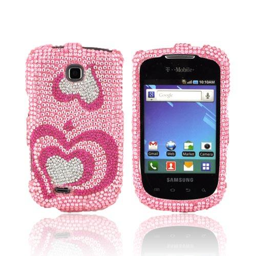 Samsung Dart T499 Bling Hard Case - Hot Pink/ Silver Hearts on Baby Pink Gems
