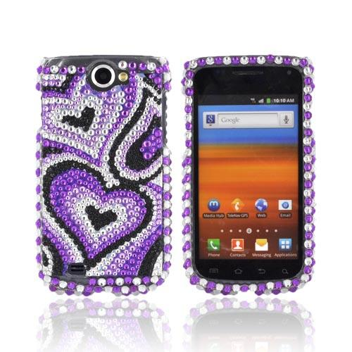 Samsung Exhibit 2 4G Bling Hard Case - Purple/ Lavender/ Black Hearts Gems