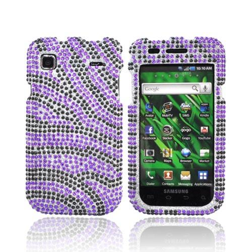 Samsung Vibrant T959 Bling Hard Case - Purple/Black Zebra on Silver