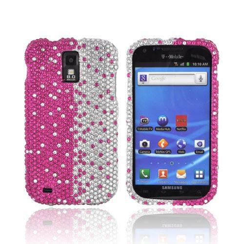 T-Mobile Samsung Galaxy S2 Bling Hard Case - Hot Pink/ Silver Gems