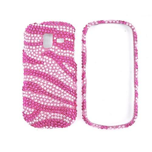 Samsung Intensity III Bling Hard Case - Hot Pink Zebra on Baby Pink Gems