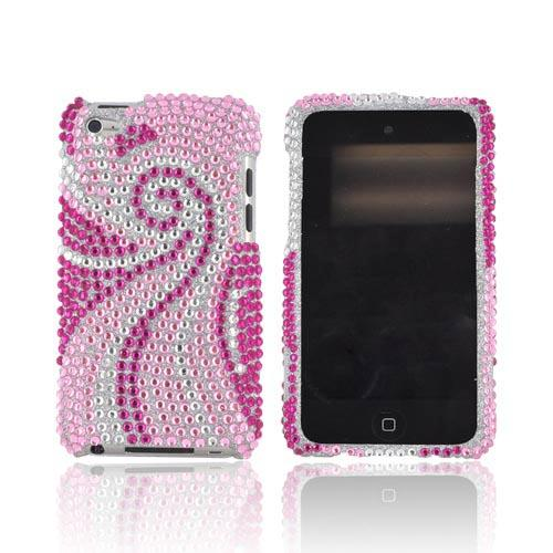 Apple iPod Touch 4 Bling Hard Case w/ Crowbar - Magenta/ Baby Pink Swirls on Silver Gems