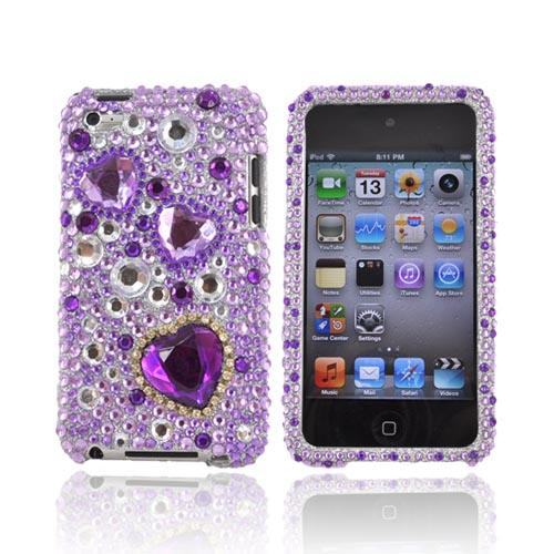 Luxmo Apple iPod Touch 4 Bling Hard Case - Purple Hearts on Purple and Clear Gems