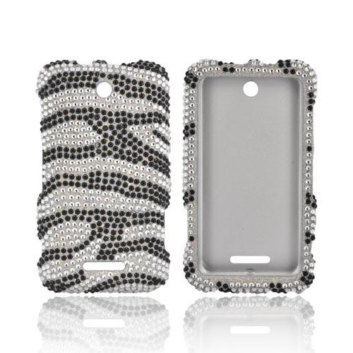 ZTE Score X500 Bling Hard Case - Black/ Silver Zebra