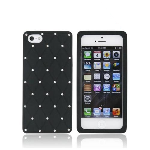 Apple iPhone 5/5S Silicone Case w/ Bling - Black w/ Silver Gems