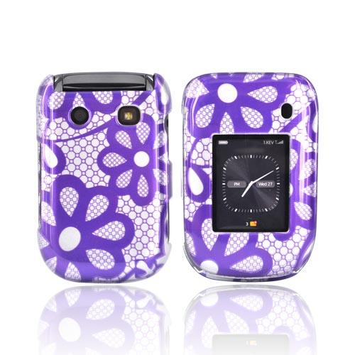 Luxmo Blackberry Style 9670 Hard Case - Purple Floral Lace on Silver