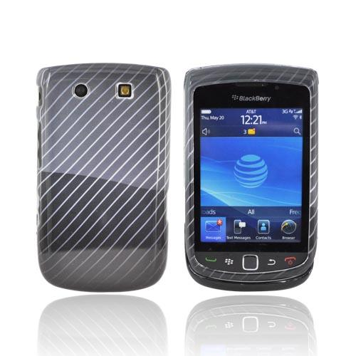 Blackberry Torch 9800 Hard Case - Lines on Black/Gray
