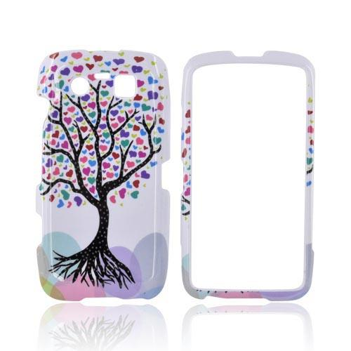 Blackberry Torch 9850 Hard Case - Black Tree w/ Multi-Color Hearts on White