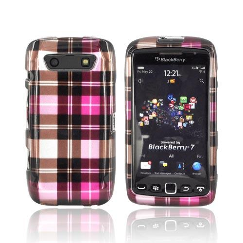 Blackberry Torch 9860, 9850 Hard Case - Plaid Pattern of Pink, Hot Pink, Brown, & Gray