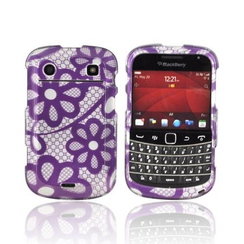 Blackberry Bold 9900, 9930 Hard Case - Black Lace Flowers on Silver