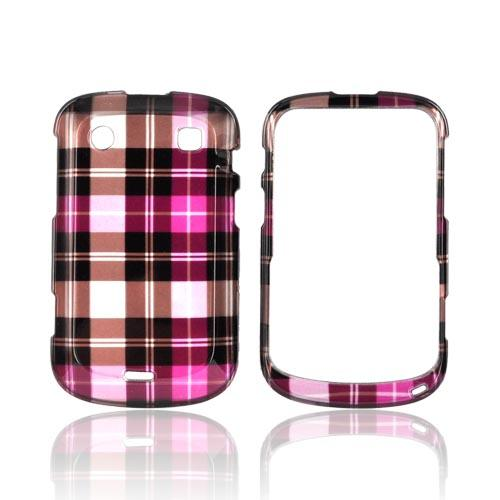 Blackberry Bold 9900, 9930 Hard Case - Hot Pink/ Pink/ Brown Plaid on Silver