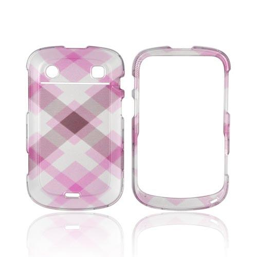 Blackberry Bold 9900, 9930 Hard Case - Plaid Pattern of Baby Pink, Brown, & Silver