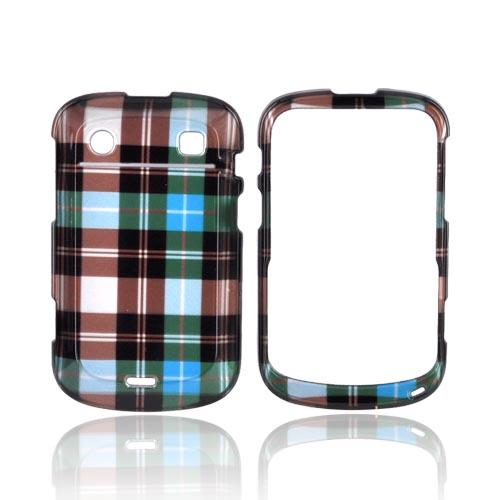 Blackberry Bold 9900, 9930 Hard Case - Plaid Pattern of Blue/ Brown/ Silver