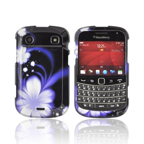 Blackberry Bold 9900, 9930 Hard Case - Purple Flowers on Black