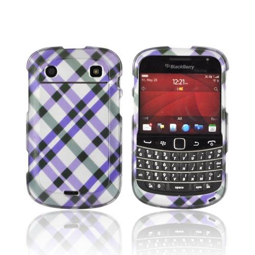 Blackberry Bold 9900, 9930 Hard Case - Purple Plaid on Silver