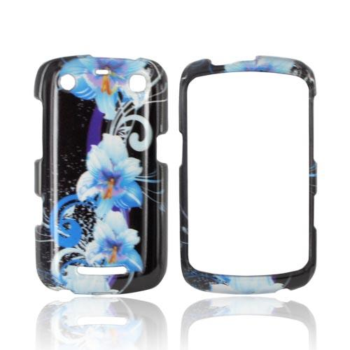 Blackberry Curve 9360 / Apollo Hard Case - Blue Flowers on Black