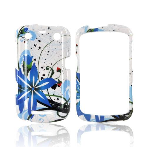 Blackberry Curve 9360/ Apollo Hard Case - Blue Flower Splash on White