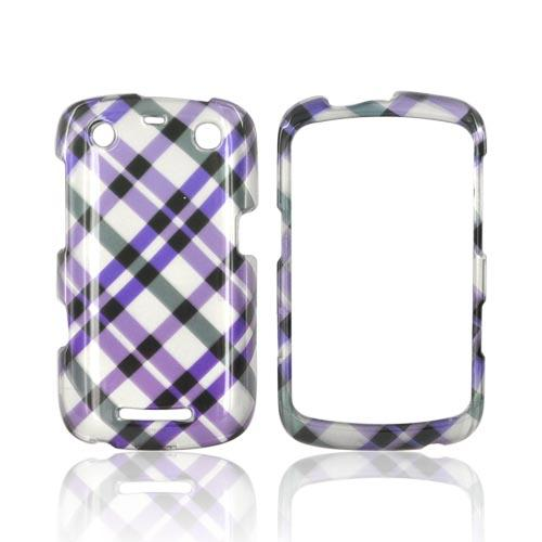 Blackberry Curve 9360/ Apollo Hard Case - Purple Plaid on Silver