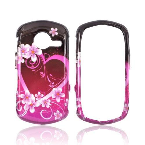 Casio G'zOne Commando C771 Hard Case - Pink Hearts & Flowers on Red/Pink