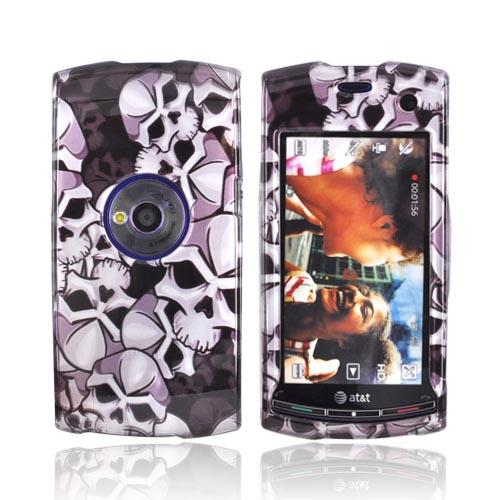Luxmo Sony Ericsson Vivaz Hard Case - Silver Skulls on Black