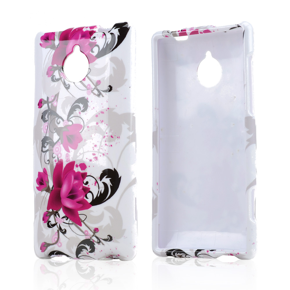 Magenta Flowers w/ Black Vines on White Hard Case for HTC 8XT