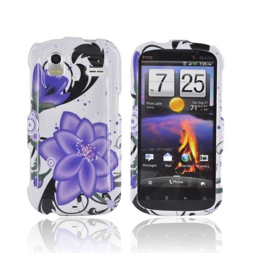 HTC Amaze 4G Hard Case - Purple Lily on White
