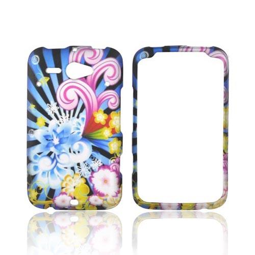 HTC Status Rubberized Hard Case - Blue Floral Burst