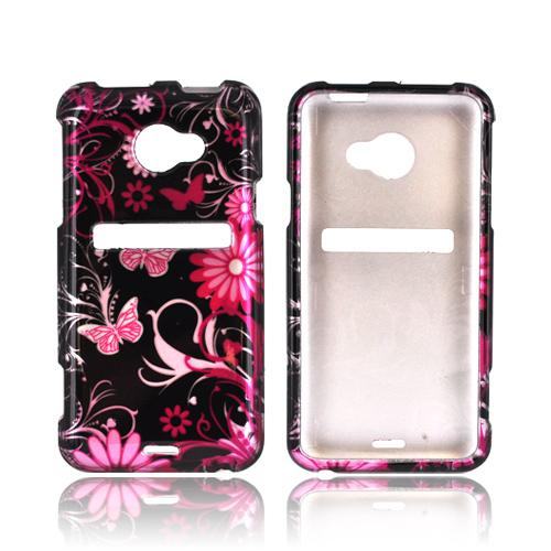HTC EVO 4G LTE Hard Case - Pink Flowers & Butterflies on Black
