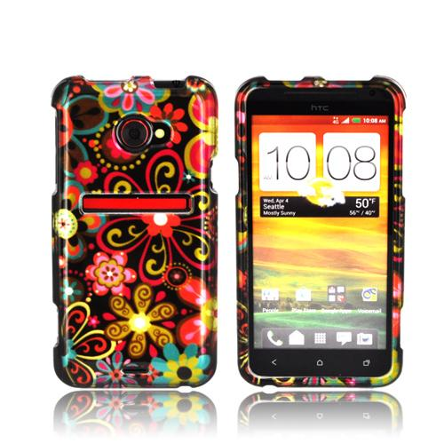 HTC EVO 4G LTE Hard Case - Pink/ Orange Retro Flowers on Black