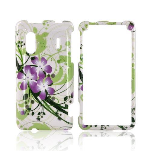HTC EVO Design 4G Hard Case - Purple Lilly on Green/ Purple