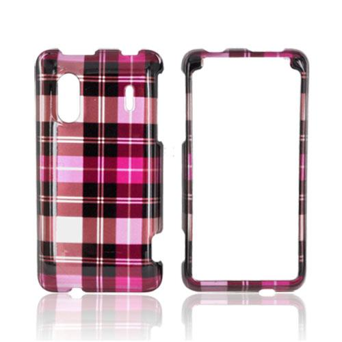 HTC EVO Design 4G Hard Case - Plaid Pattern of Pink, Hot Pink, Brown, & Silver