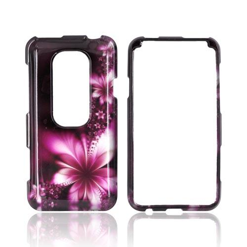 HTC EVO 3D Hard Case - Pink Flowers on Maroon