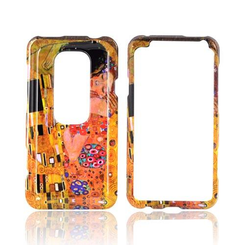 HTC EVO 3D Hard Case - The Kiss on Yellow/ Orange