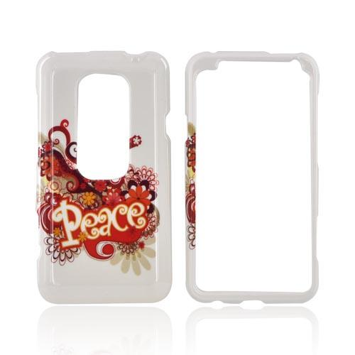 HTC EVO 3D Hard Case - Red/ Yellow Peace on White