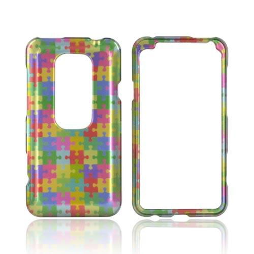 HTC EVO 3D Hard Case - Rainbow Puzzle Pieces