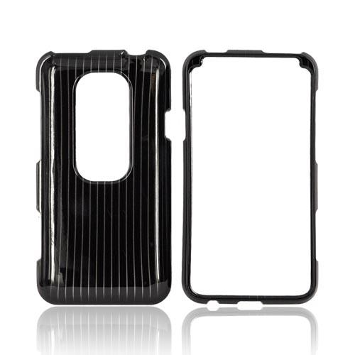 HTC EVO 3D Hard Case - Silver Lines on Black