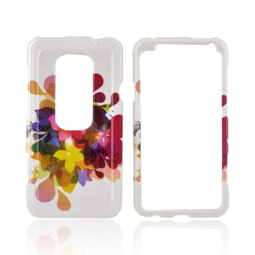 HTC EVO 3D Hard Case - Colorful Water Flowers on White