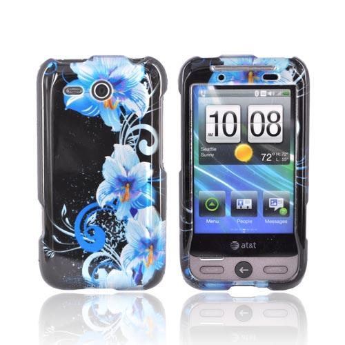 HTC FreeStyle Hard Case - Blue Flower on Black