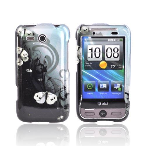HTC FreeStyle Hard Case - White Butterflies Design on Black