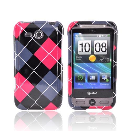 HTC FreeStyle Hard Case - Red, Gray, Black, White Argyle