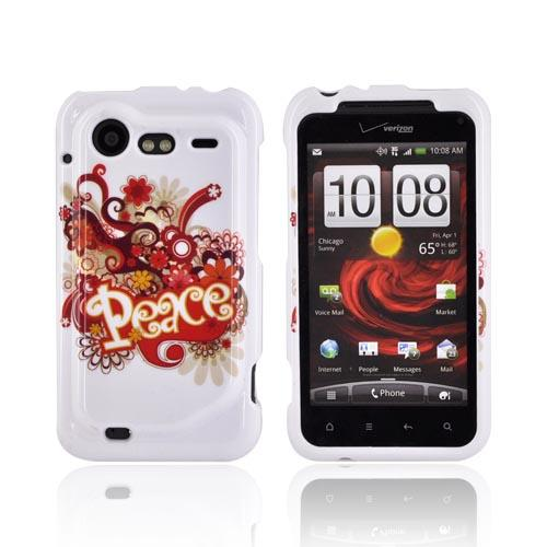 HTC Droid Incredible 2 Hard Case - Red/ Yellow Peace on White