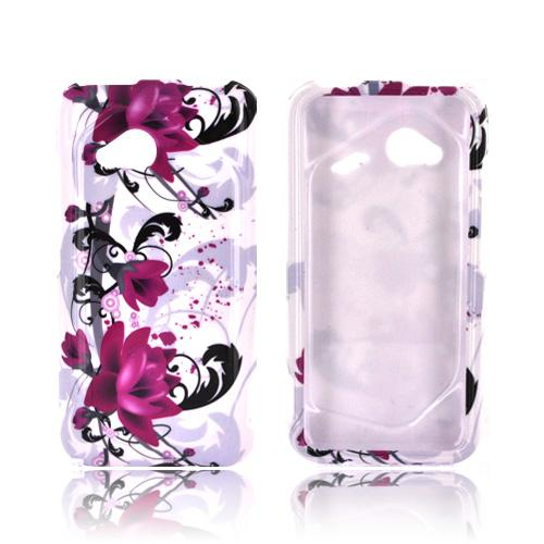 HTC Droid Incredible 4G LTE Hard Case - Magenta Flowers & Black Vines on White