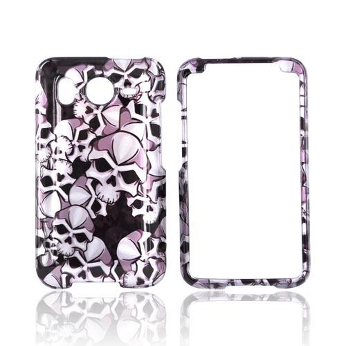 HTC Inspire 4G Hard Case - Silver Skulls on Black
