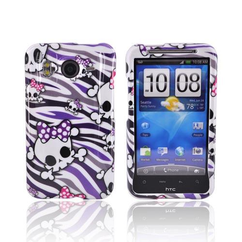 HTC Inspire 4G Hard Case - White Skulls on Purple/White Zebra
